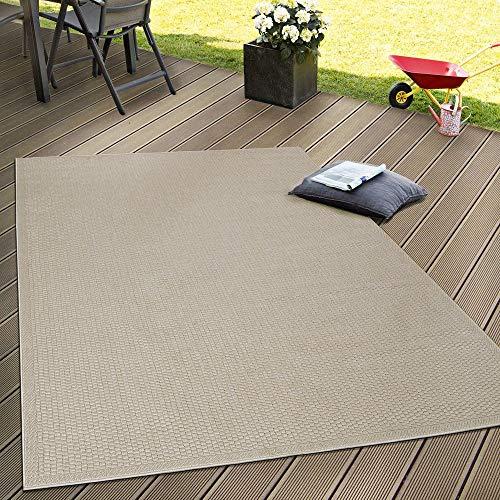 Paco Home In- & Outdoor Flachgewebe Teppich Terrassen Teppiche Natürlicher Look In Beige, Grösse:160x220 cm