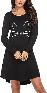 Hotouch Sleepwear Women's Nightgown Cotton Sleep Shirt Cute Printed Long Sleeve Scoop Neck Sleep Tee Nightshirt