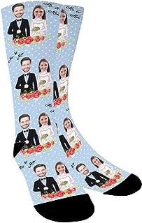 YanNanKe, Calcetines Personalizados Foto,Personalizable Calcetines,Pon tu Foto en Calcetines para Hombre Mujer, Calcetines Divertidos, Calcetines de pareja, regalos de boda, aniversario