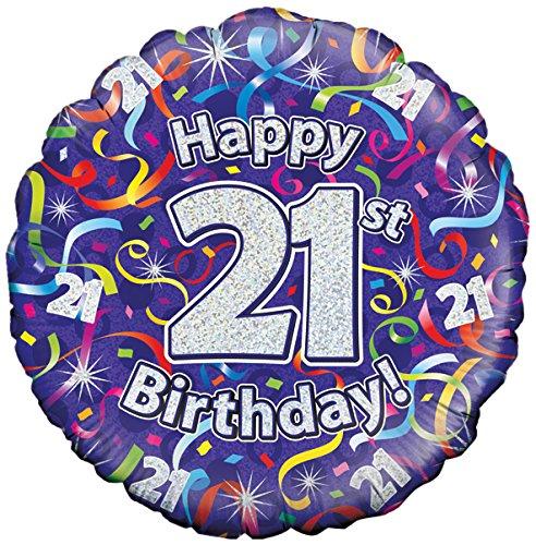 Oaktree UK 18 21 verjaardag slingers holografische folie design ballonnen, meerkleurig