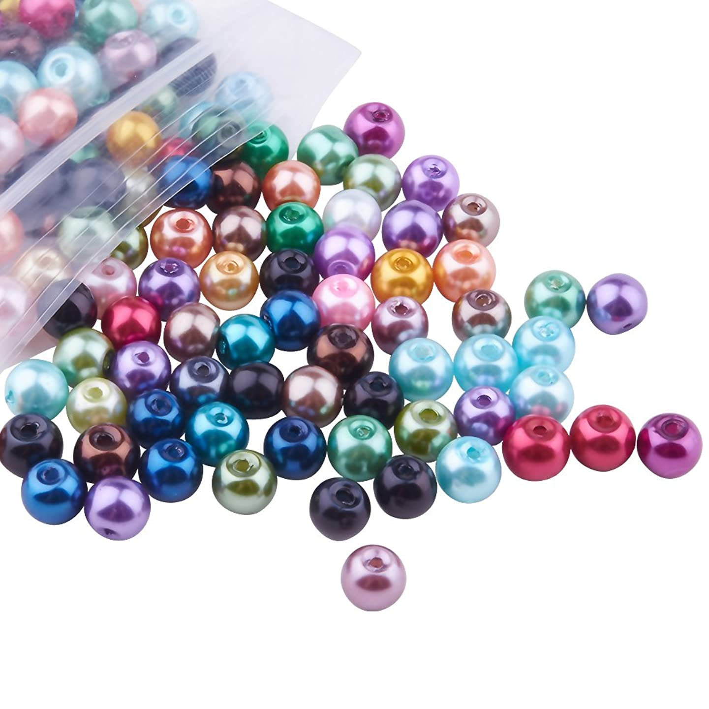 Pandahall 200pcs 6mm Mixed Color Round Glass Pearl Beads Strands Dyed Beads for Jewelry Necklace Craft Making, Hole: 0.5mm
