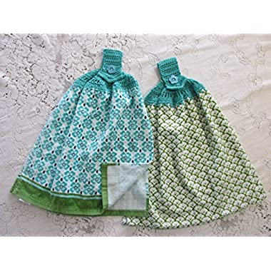 Set of 2 Pioneer Woman Leaf Scallop Blue & Green Double Layer Hanging Kitchen Towels, Best Quality, Crochet Top