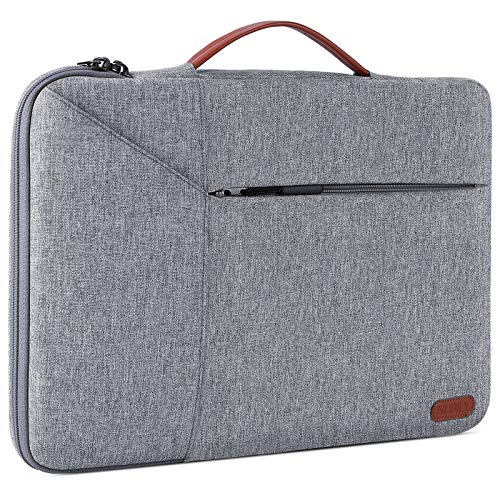 Laptop Sleeve Case 15.6 Inch Briefcase Waterproof Shock Resistant Laptop Cover Bag Compatible 15-15.6 inch Notebook/Chromebook/ThinkPad/Ultrabook Gray