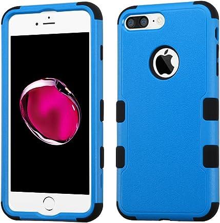 Funda Case para iPhone 7 Plus Doble Protector de Uso Rudo Funda Anti Impactos Resistente a Caídas (Azul con Negro)