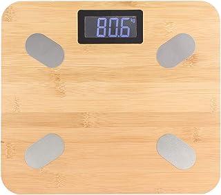 Básculas para peso corporal y grasa, básculas inteligentes Báscula de baño de bambú de peso digital con pantalla LED Bluetooth (batería no incluida)