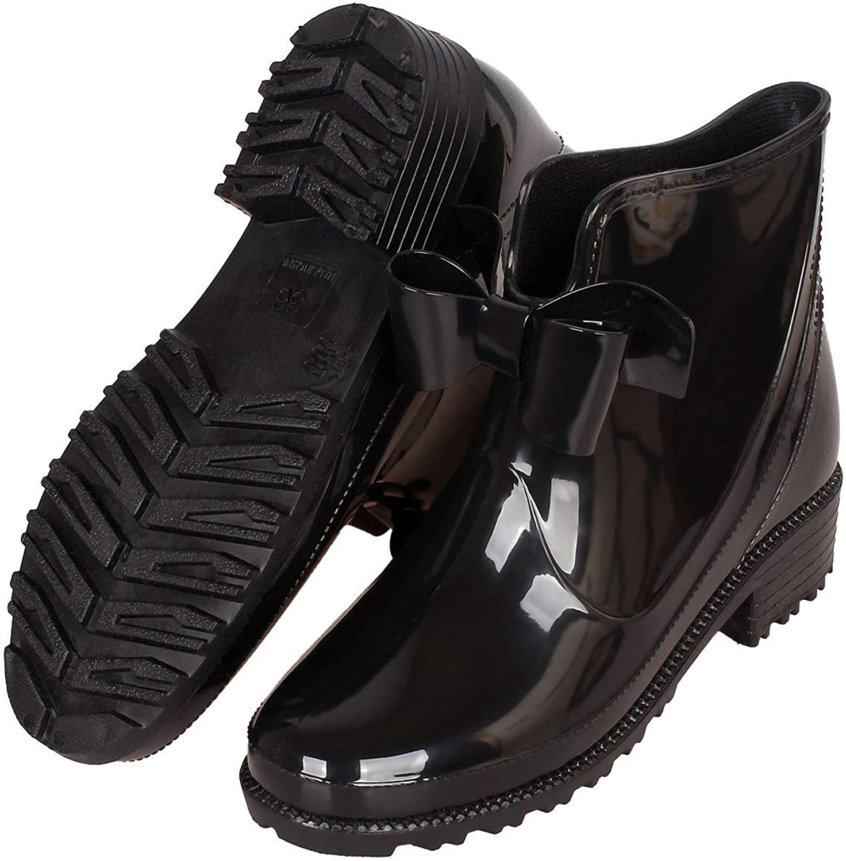 CCZZ Womens Black Rain Boots Anti Slip Short Rain shoes Waterproof Rubber Work Garden Ankle Booties