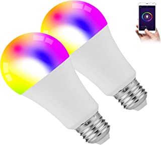 Smart Light Bulbs, 2 Pack 9W Smart Bulbs That Work with Alexa, Google Home (No Hub Required), RGB Color Changing Bulbs, A19 Smart Bulb Dimmable, E26 WiFi Multicolor Light Bulb 2.4G(Not 5G)