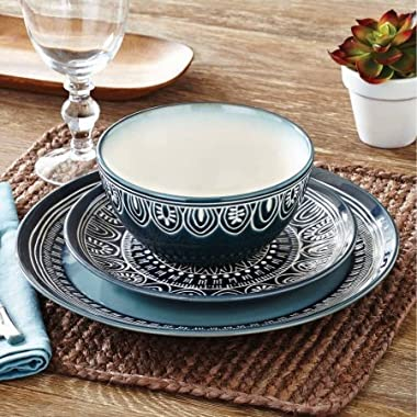 Better Homes and Gardens Teal Medallion 12-Piece Dinnerware Set, Teal