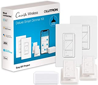 Lutron Caseta Wireless Smart Light Dimmer Switch (2 Count) Starter Kit with Pedestals for Pico Wireless Remotes, Works wit...