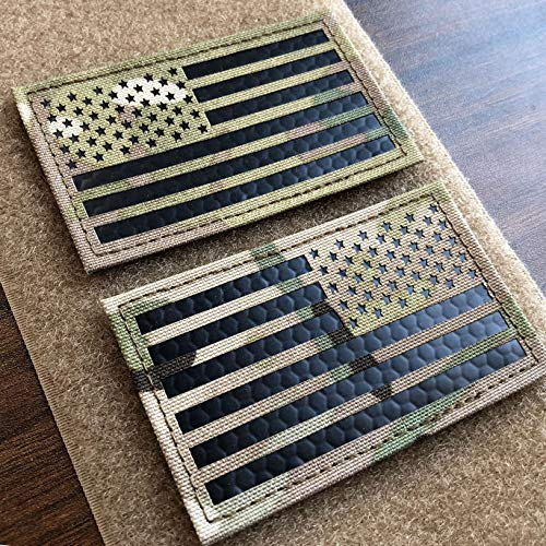 2x3.5' Multicam Infrared IR US USA American Flag Patch Tactical Vest Patch Hook-Fastener Backing (Forward+Reversed)