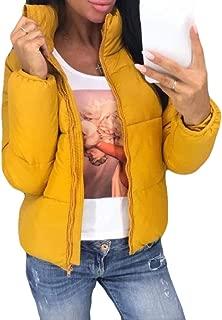 Howely Women Winter Stand-up Collar Pure Color Zipper Warm Coat Jacket