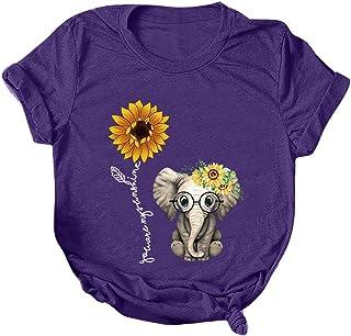 Women Summer Short Sleeve Tops, Ladies Cartoon Printed Casual T-shirt Blouse Pullover Top