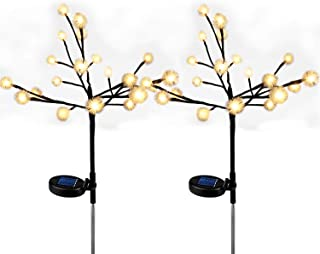 AVEKI Solar Tree Lights Outdoor, 2 Pack LED Fairy Chuzzle Ball Solar Stake Lights Waterproof Solar Powered Landscape Lighting for Garden Patio Pathway Holiday Party Wedding Decor (2 Pack)