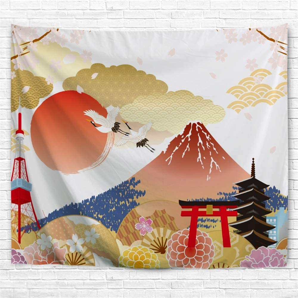 IcosaMro Fuji Mountain Tapestry Wall Hanging, Japanese Art (Double-Folded Hems) Wall Tapestries Small Size for Bedroom, Dorm, College, Living Room, 51x60 Inch, Golden Pink