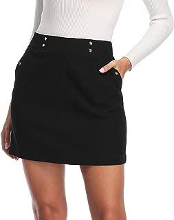 andy & natalie Women's High Waist Bodycon Short Mini Skirt with Pockets Above Knee Lenght Zipper Back Novelty Skirts