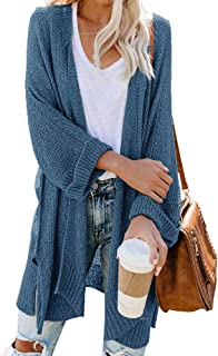 Ofenbuy Womens Oversized Long Cardigans Lightweight Batwing Long Sleeve Open Front Knit Sweater Cardigan Plus Size S-5L