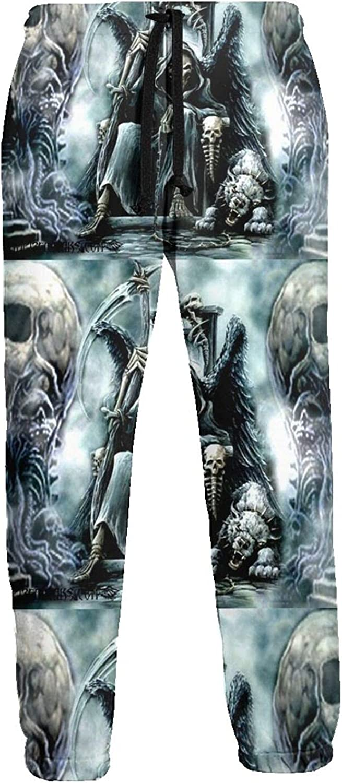 KAWAHATA Scary Skull Men's Pants with Pockets Tapered Athletic Sweatpants 3D Casual Active Sports Pants