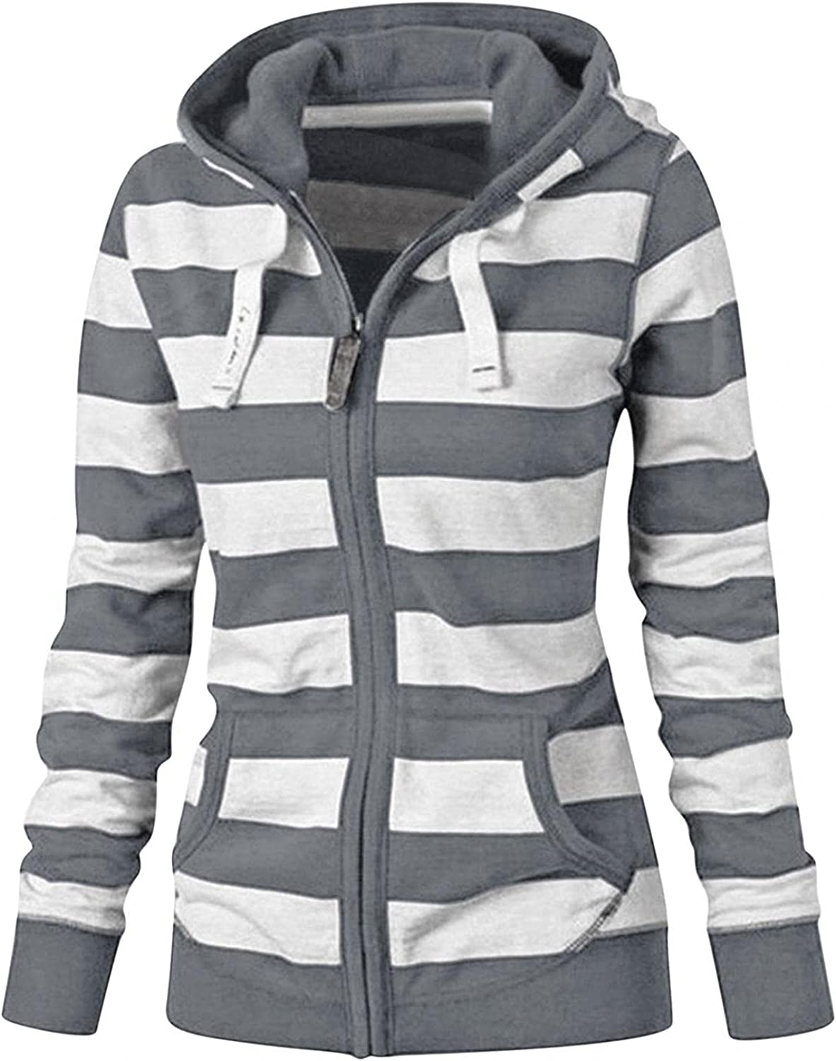 Hoodies for Women Pullover,Womens Casual Striped Printed Sweatshirt Long Sleeve Zip Up Jacket Hooded Shirts Tops Fall Coat