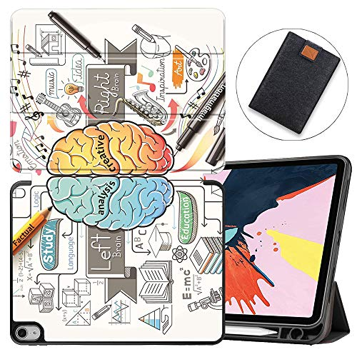 MAITTAO 2 in 1 Bundle Case for iPad Air 4 10.8 inch 2020 Release with Apple Pencil Holder, Soft TPU Back Shell Stand Smart Cover for iPad Air 10.8 Case Tablet Sleeve,Creative Brain 6