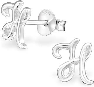 925 Sterling Silver Alphabet Letter Stud Earrings (Nickel Free)