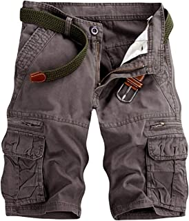 Men's Lightweight Multi Pocket Casual Cargo Shorts with No Belt