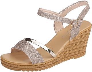 6e405dc5 Sandalias Mujer Verano 2019 con Plataforma - Lentejuelas Zapatos de Cuña -  con Altas Tacon 8