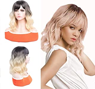 LUOMAN Short Bob Wigs for Women14 Inches Black and Blonde Wig with Bangs Shoulder Length Synthetic Hair with Natural Wavy ...