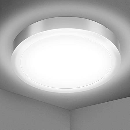 Elfeland Plafonnier LED 18W Luminaire Salle de Bain 1700LM Blanc Naturel 5000K Lampe de Plafond Étanche IP54 Plafonnier Salon Applicable à Salle de Bain Chambre Cuisine Balcon Garage Ø22*3cm