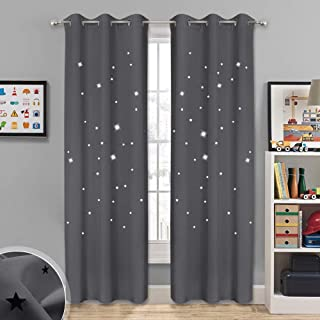 NICETOWN Starry Curtains Blackout Panels - Soft & Thick Room Darkening Curtains with Hollow Out Twinkle Stars for Boys/Nursery/Kids Room Window Drapes (2 Panels, 42W x 84L Inch, Gray)