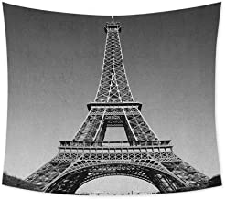 jecycleus Eiffel Tower Boho Tapestry Wall Hanging Paris Landmark Monochrome Picture of Cityscape European Urban Famous Place Image Colorful Tapestry Hippie Decor W62.8 x L62.8 Inch Grey