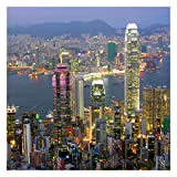 Bilderwelten Fotomural - Hong Kong Skyline - Mural cuadrado papel pintado fotomurales murales pared papel para pared foto 3D mural pared barato decorativo, Dimensión Alto x Ancho: 288cm x 288cm