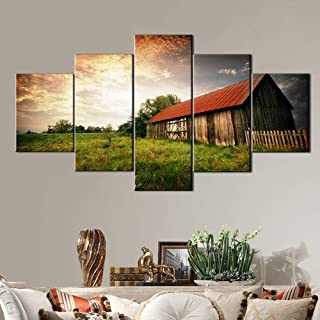 Cabin Decor Country Pictures Wall Decor Wooden Bar Painting on Canvas Landscape Artwork Home Decor for Living Room 5 Panel Art Posters and Prints Framed Gallery-Wrapped Ready to Hang(60''Wx32''H)