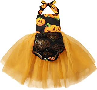 Toddler Baby Girl Halloween Outfit Sleeveless Pumpkin Ghost Tutu Dresses Little Kids Costume Clothes