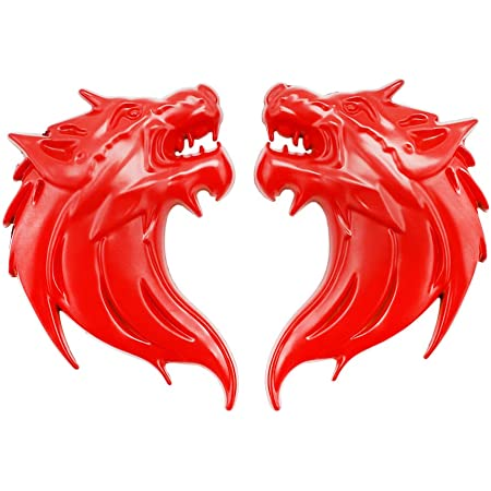 UpAuto 2pcs Cool Wolf Head Car Side/Rear/Front Decorations Badge Emblem 3D Self-Adhesive Nameplate Sticker for Car (Red)