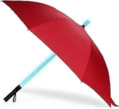 LED Paraguas Lightsaber Infantil Hombre Mujer, Luz para Arriba Paraguas de Golf con el Cambio de Color del Eje (Rojo)