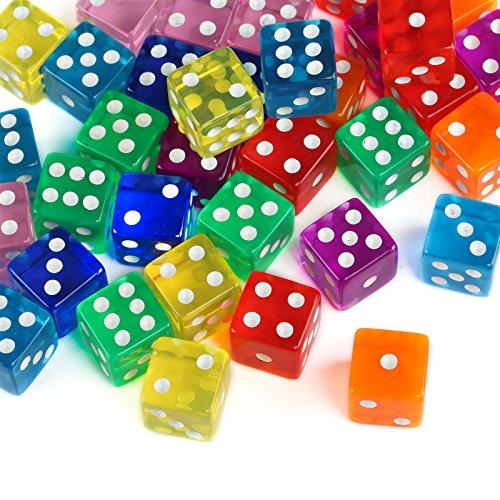 GWHOLE 40 Piezas Coloridos Dados (6 Caras, 16mm) Translúcidos Conjunto para Juegos de Dados, Bar, Tenzi, Farkle, Yahtzee, Bunco o Enseñanza de Matemática, Casino, Regalos, Party Favor - 8 Colores