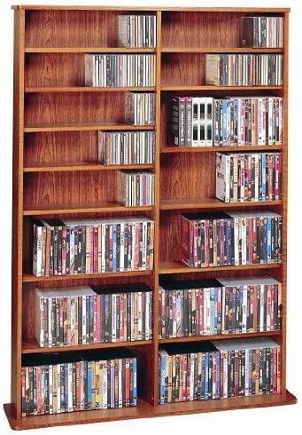 Leslie Dame High Capacity Oak Veneer Multimedia Storage Rack, Cherry