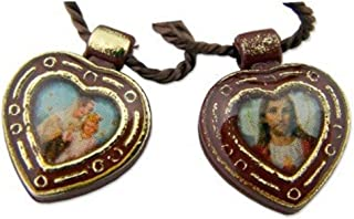 Religious Gifts Catholic Gift Our Lady Mt Mount Carmel Jesus Christ Sacred Heart - Heart Shape Scapular Cord Necklace