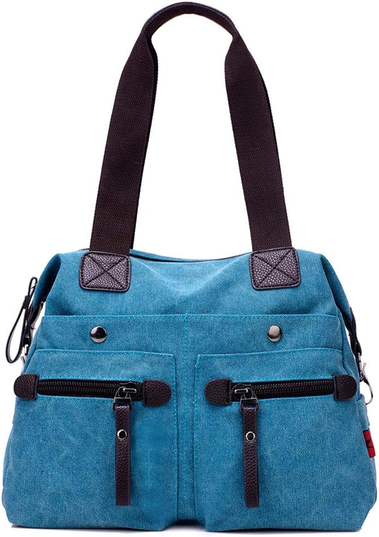 MXQH Damen-Leinwand lässige Wilde Dame Schulter Tasche geschlagene geschlagene geschlagene Pendler weibliche Tasche tragbare Big Bag, geeignet für den täglichen und Arbeit,Blau B07PGZHSDN  Echt 8b355e