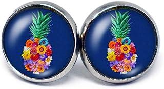 JUANLOWE Hawaii Ananas Motiv Ohrringe silberfarben Edelstahl Cabochon Ohrstecker
