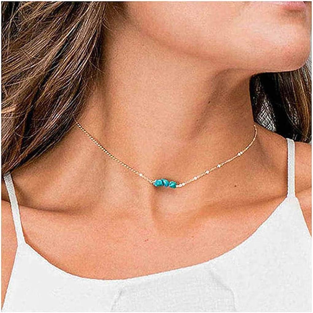 San Francisco Mall Yalice Dainty Turquoise Choker Necklace Blue Cheap bargain Beaded Chain Neckla