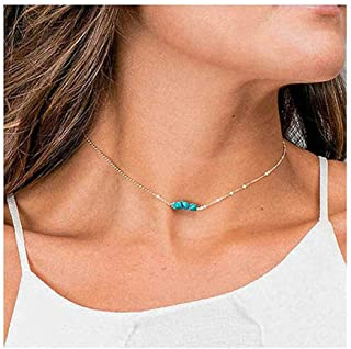 gift for woman tiny bead choker Turquoise choker necklace with eye charm