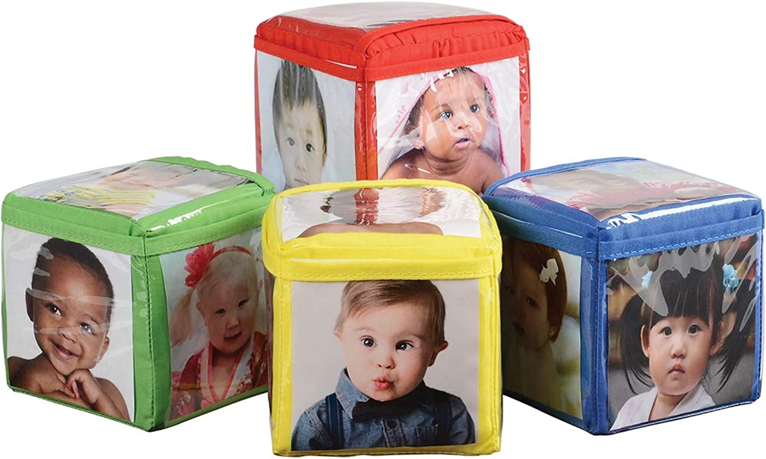 CP Toys Photo Pocket Foam Stacking Blocks  Set of 4 colorful Blocks with 24 Vinyl Photo Pockets to Personalize  Ages 12 Months+