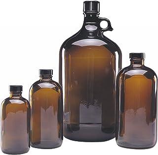 Wheaton 220935 Safety Coated Bottle, Boston Round Style, Amber Glass, 16oz With 28-400 Black Phenolic Aluminum Lined Screw...