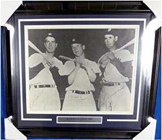 Mickey Mantle, Joe DiMaggio & Ted Williams Autographed Signed Framed 16x20 Photo - JSA Authentic