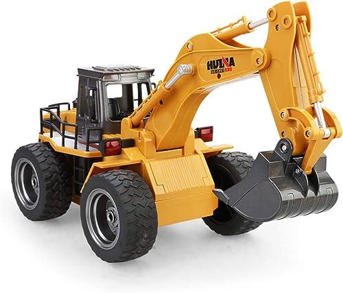 HUIGE RC Digger Truck 6 Channel Full Functional Excavator Front Loader Fernbedienung Truck Dumper mit Licht & Sounds 2.4Ghz