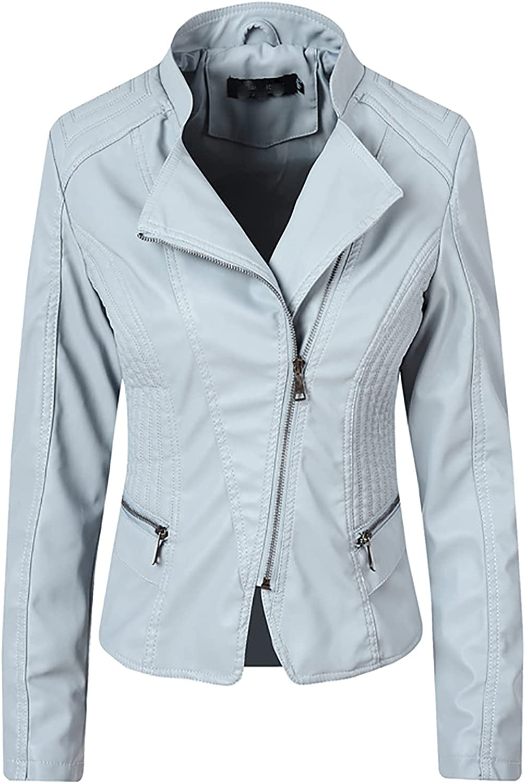 Hefu Womens Faux Leather Jacket Zip Up Motor Biker Jacket Short Lightweight Coats Cool Outerwear with Pockets