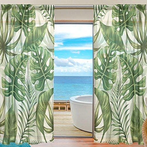 cortinas salon hojas tropicales