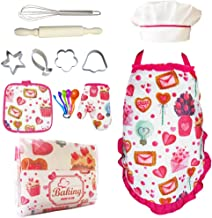 Cupcake Chef Set for Kids Cooking,Girls Baking Set with Heart Apron,Chef Hat,Oven Mitt for Toddler Pretend Play,Great Gift for Children Chef Role Playing Costumes,Ages 3+(Chef Set)