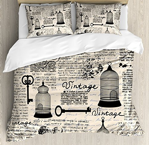 Old Newspaper Decor King Size Duvet Cover Set by Ambesonne, Grunge Pattern with Bird Cages Keys Heart Shapes and Flower, Decorative 3 Piece Bedding Set with 2 Pillow Shams, Black Cream Baby Blue